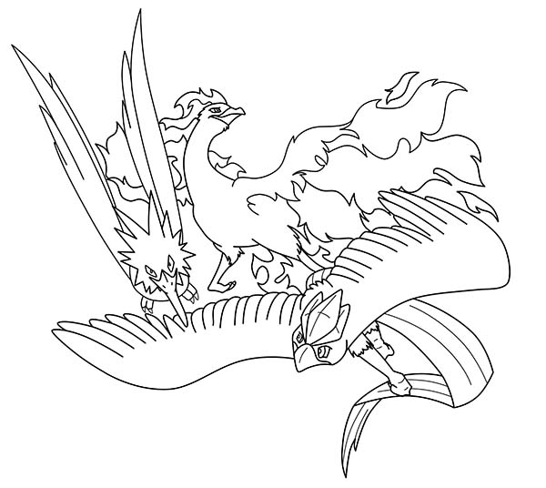 Awesome Trio Articuno Coloring Page