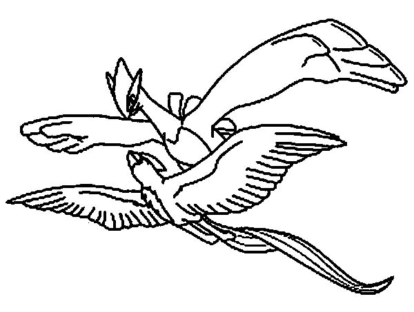 Two Articuno Pokemon Mating Coloring Page