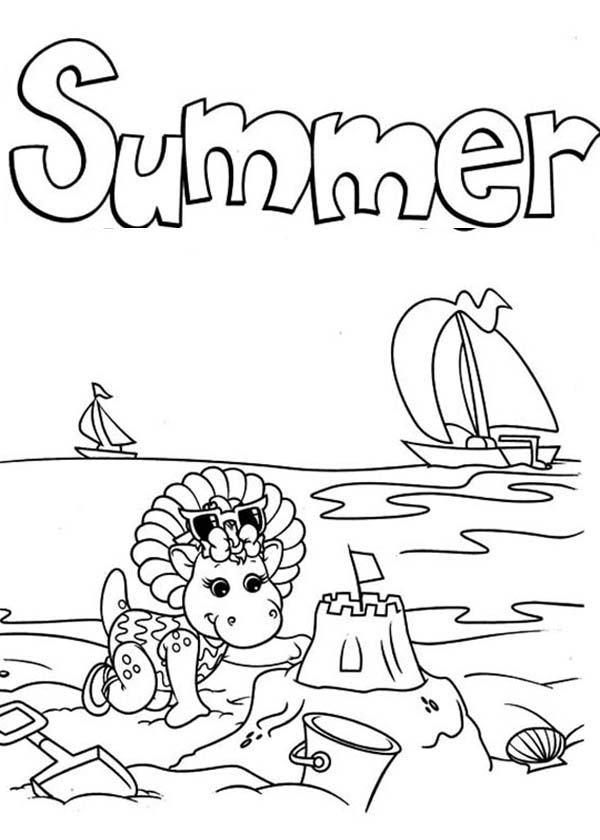 Summer Time in Barney and Friends Coloring Page: Summer Time in ...