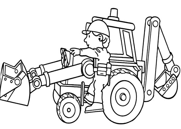 Bob Working with Scoop in Bob the Builder Coloring Page Bob