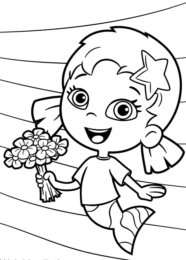 Oona Holding Flower Bouquet In Bubble Guppies Coloring Page Oona Guppies Coloring Page