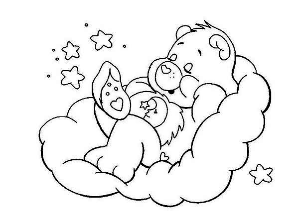 Bedtime Bear is Sleeping Tight in Care Bear Coloring Page Bedtime