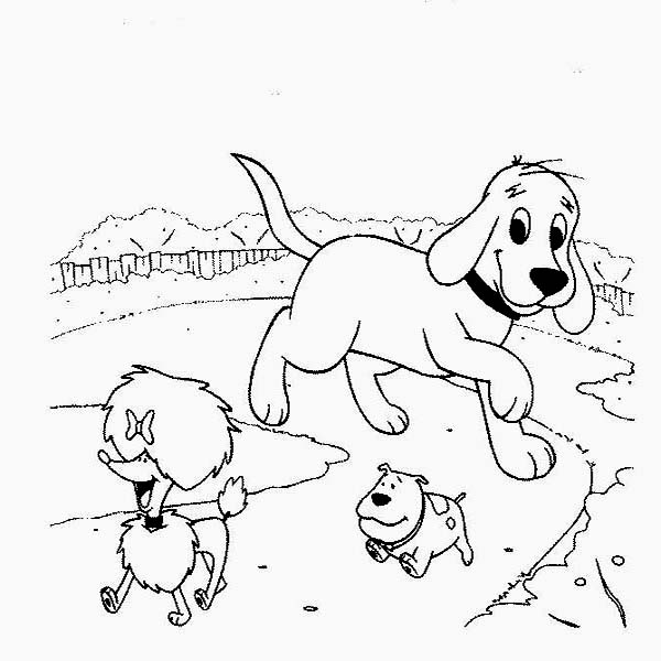Clifford the Big Red Dog Walking Around with Friends Coloring Page ...