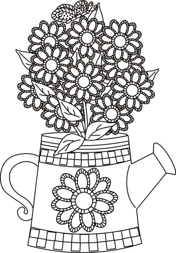 Flower and Butterfly in the Watering Can Coloring Page: Flower and ...