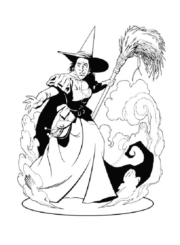 Wicked Witch Of The West From Wizard Oz Coloring Page