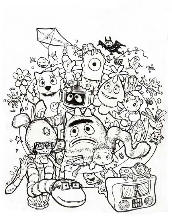 Celebrating Halloween in Yo Gabba Gabba Coloring Page: Celebrating ...