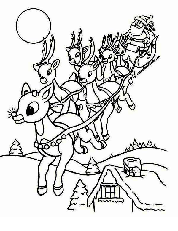 Santa Clauss Riding Christmas Sleigh On Eve