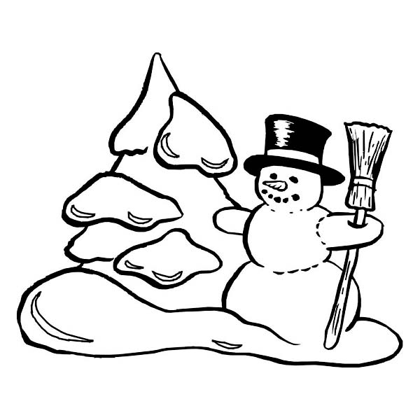 Traditional Winter Season Scene with Mr Snowman Coloring Page