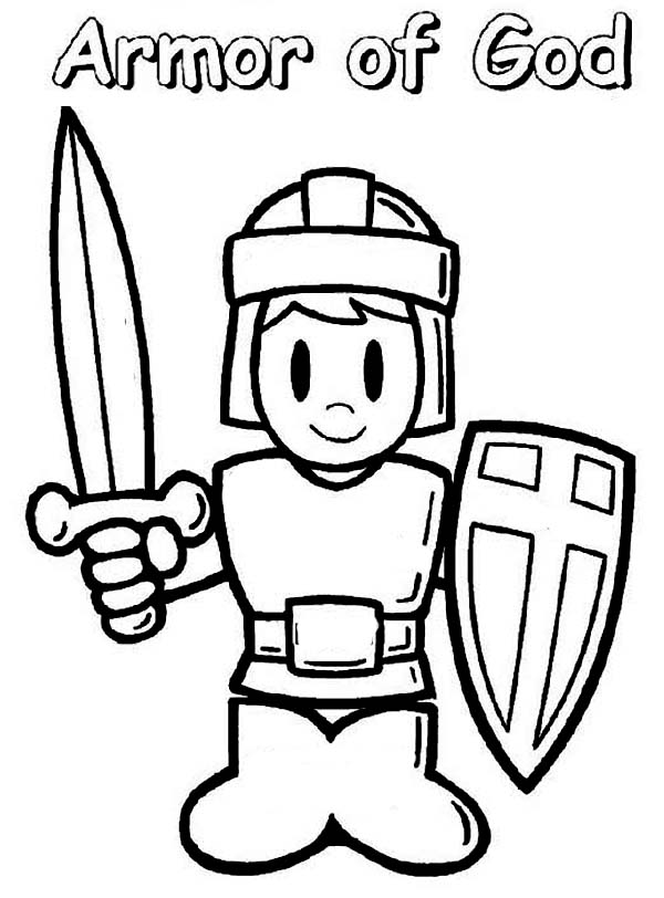 Armor of God, : A Boy Wearing Armor of God Coloring Page