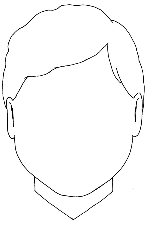 Face, : A Boy with Triangle Type of Face Coloring Page