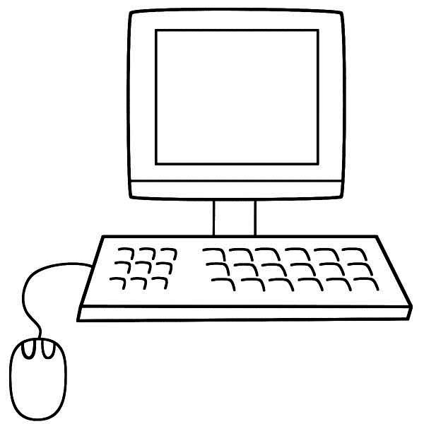 A Computer With Mouse And Keyboard Coloring Page