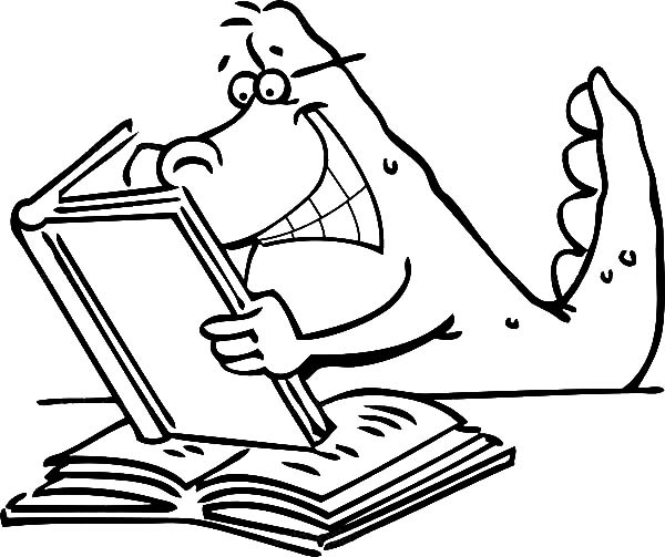 Books, : A Dinosaurus Who Love to Read  Book Coloring Page