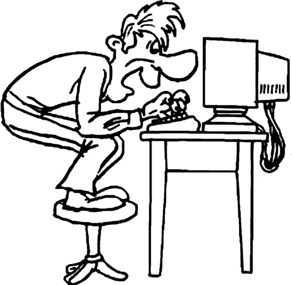 Computer, : A Man Typing on Computer While Standing on Chair Coloring Page