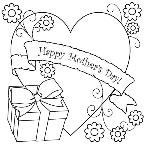 Mothers Day, : A Present and Big Love for Mother on Mothers Day Coloring Page