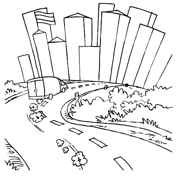 City, : A Van Running Fast at City Road Coloring Page