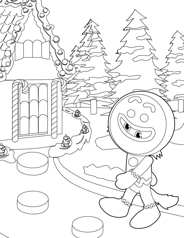 Gingerbread Men, : A Wolf Disguised as a Gingerbread Men Coloring Page