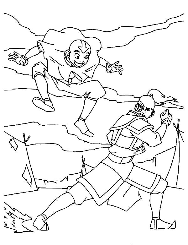 Avatar the Last Air Bender, : Aang Fight with Zuko in Avatar the Last Air Bender Coloring Page