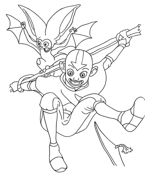 Avatar the Last Air Bender, : Aang Jump High with Momo in Avatar the Last Air Bender Coloring Page