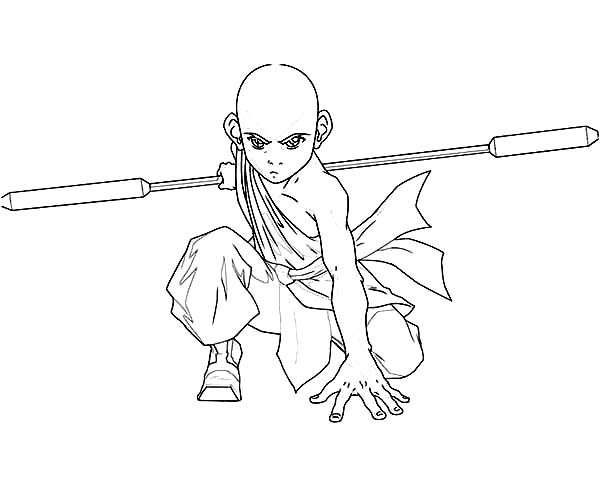 Avatar the Last Air Bender, : Aang is Ready to Fight in Avatar the Last Air Bender Coloring Page