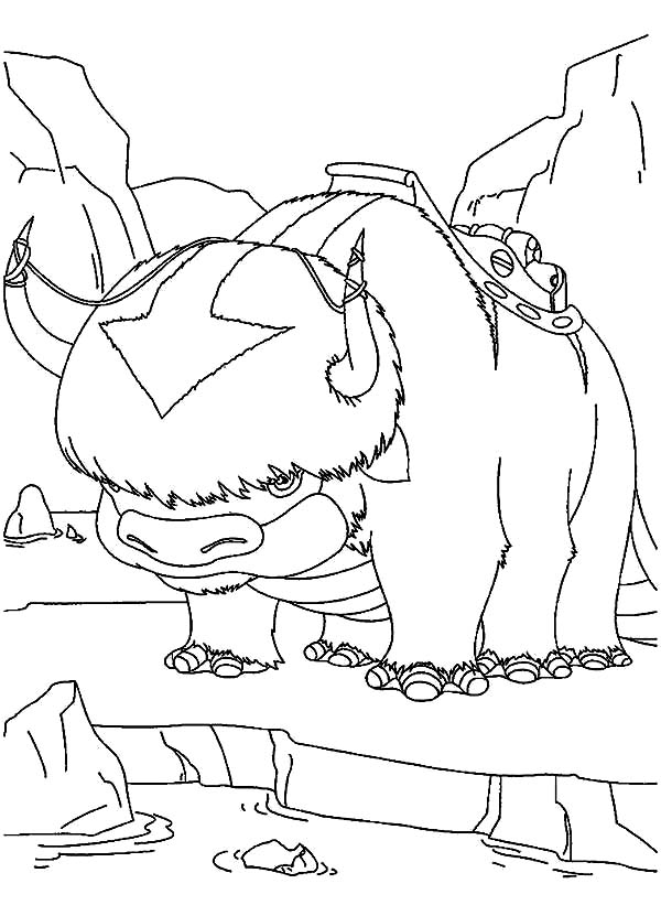Avatar the Last Air Bender, : Aangs Flying Bison Appa in Avatar the Last Air Bender Coloring Page
