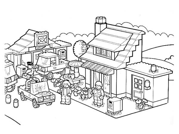 City, : Activity in Lego City Coloring Page