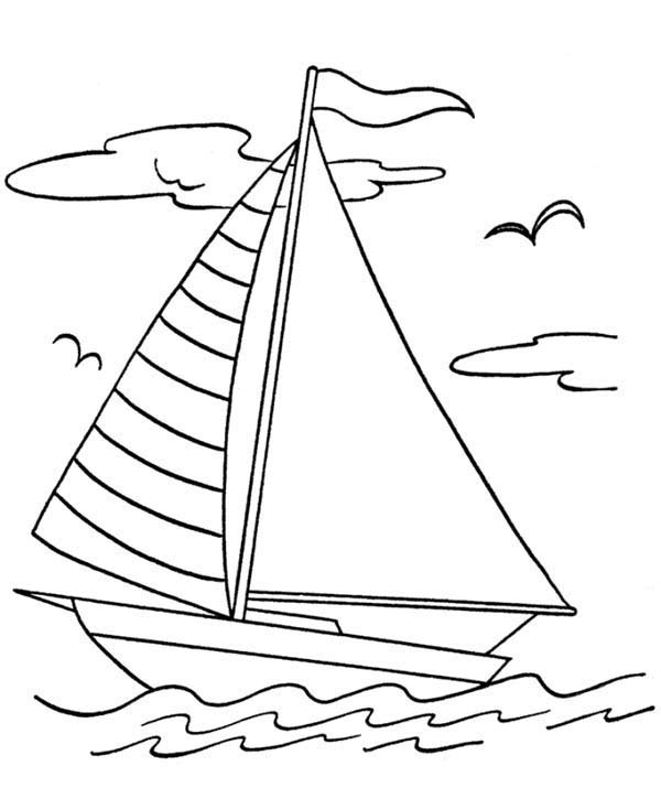 Boat, : Adventure on Sail Boat Coloring Page