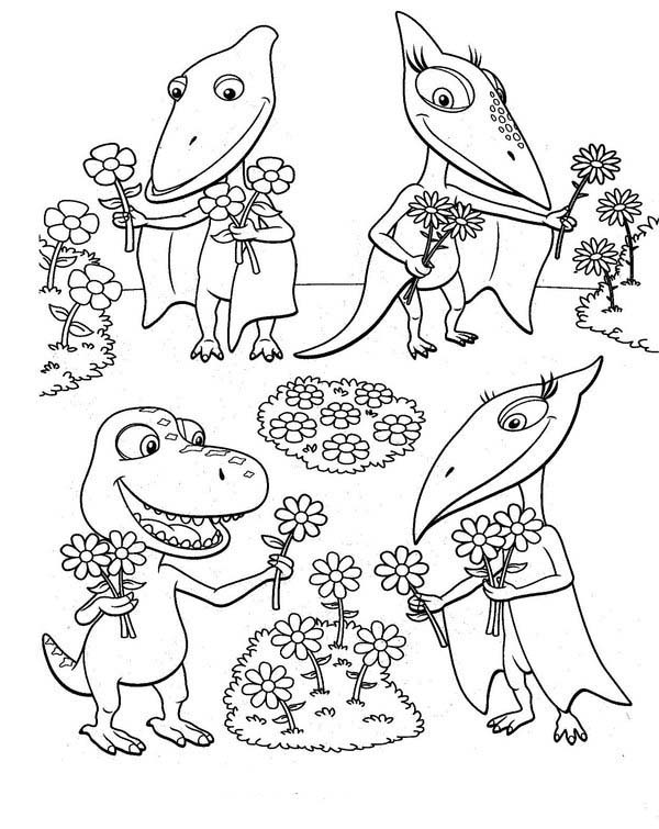 Dinosaurus Train, : All Dinosaurus Train Characters Pick Flowers Coloring Page