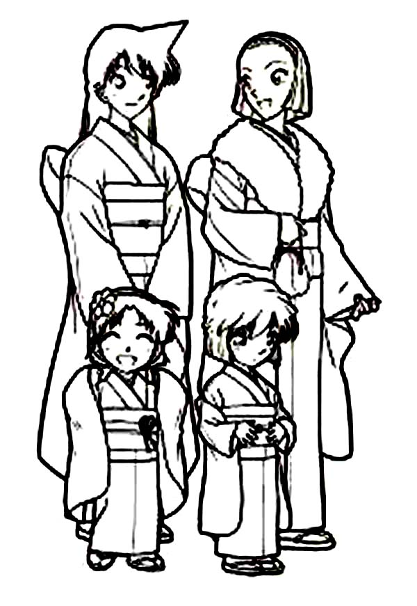 Detective Conan, : All Girl Characters in Detective Conan Wear Kimono Coloring Page