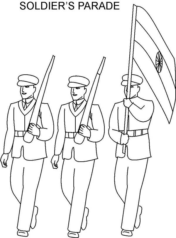 Armed Forces Day, : All Soldiers Parade in Armed Forces Day Coloring Page