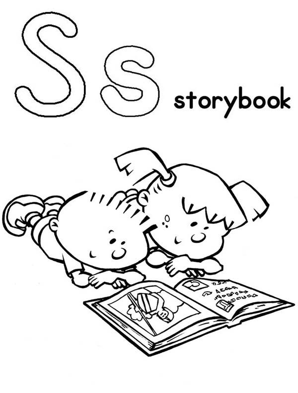 Books, : Alphabet S for Story Book Coloring Page