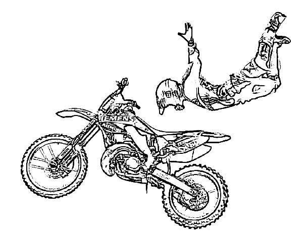 Dirt Bike, : Amazing Dirt Bike Rider Coloring Page