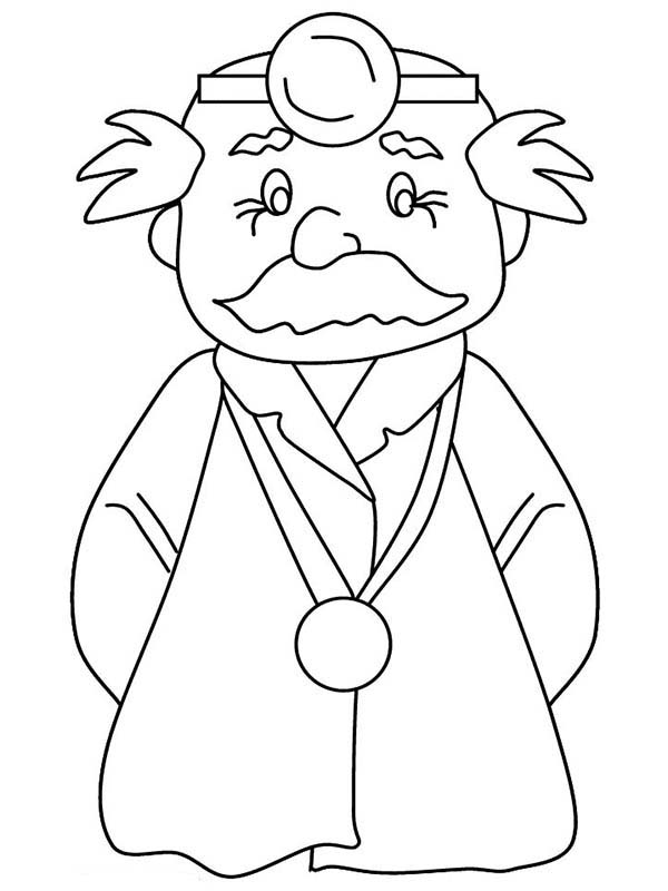 Doctor, : An Old Surgeon Doctor Coloring Page