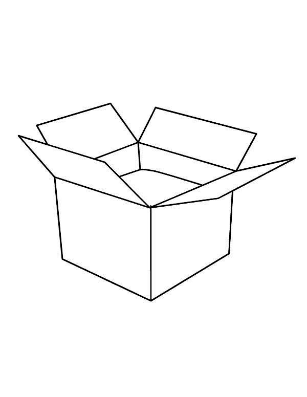 Box, : An Open Box Coloring Page