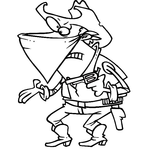Cowboy, : An Outlaw Cowboy Demanding Your Money Coloring Page