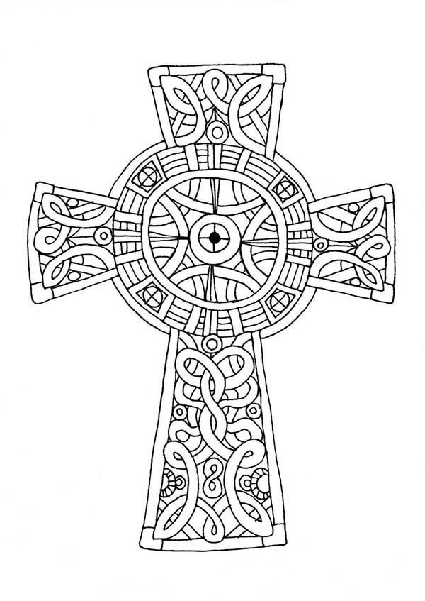 Cross, : Ancient Cross Coloring Page