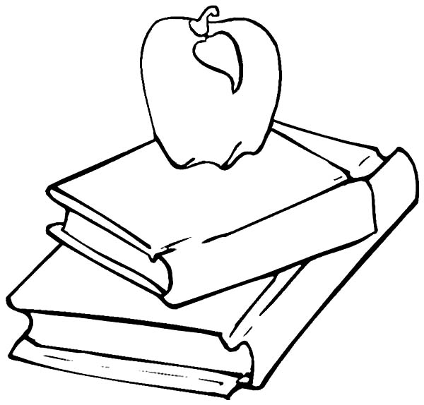Books, : Apple on Stack of  Book Coloring Page