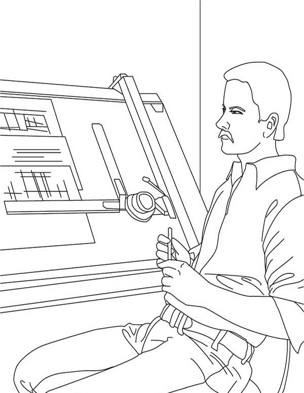 Construction, : Architect Planning on Construction Picture Coloring Page