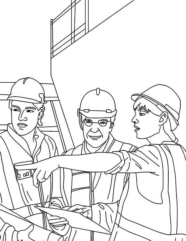Construction, : Architect at Construction Work Coloring Page