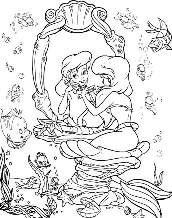 Ariel Put Some Make Up Coloring Page | Coloring Sun