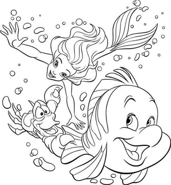 Ariel, : Ariel Sebastian and Flounder Swim Race Coloring Page