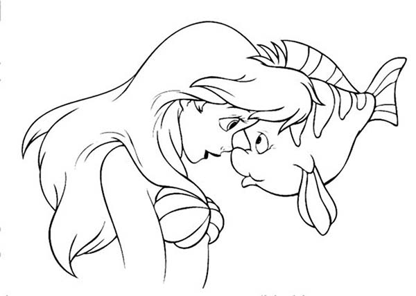 Ariel, : Ariel and Flouder Coloring Page