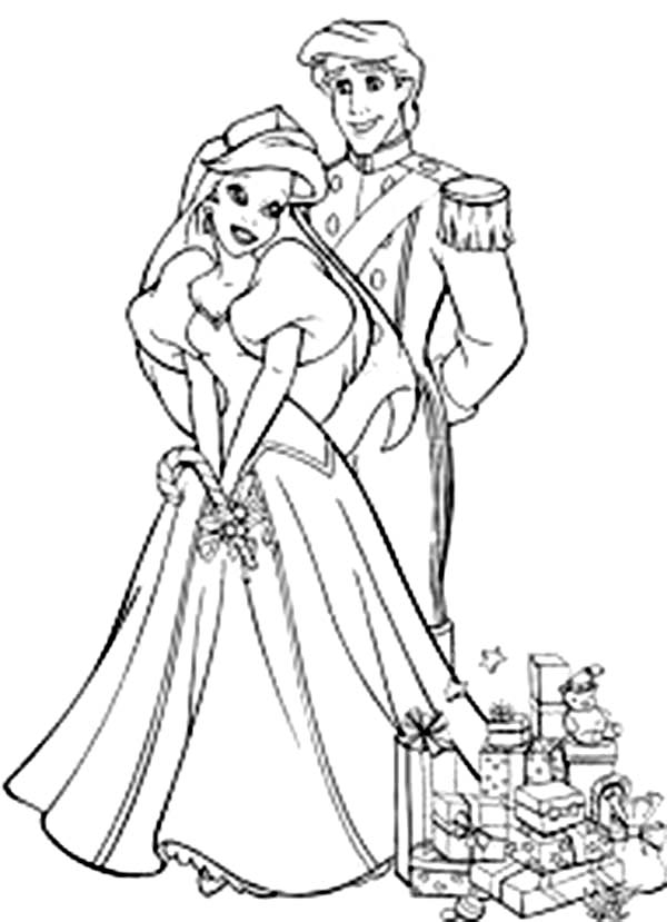 ariel and prince eric after wedding coloring page