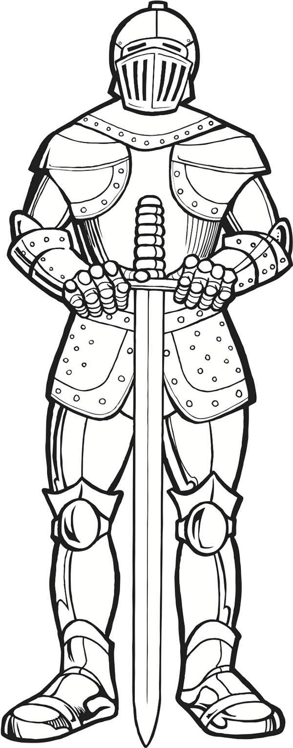 Armor of God, : Armor of God and Long Sword Coloring Page