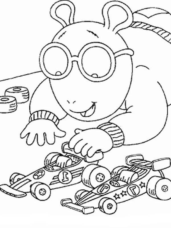Arthur, : Arthur Tamiya Car Racing Coloring Page