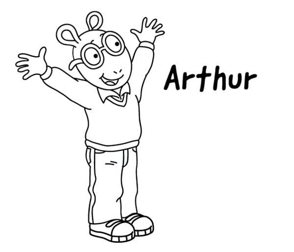 Arthur, : Arthur is so Happy Coloring Page