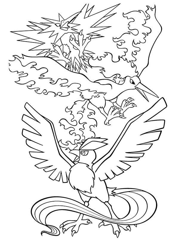 Articuno Bird Attack Coloring Page | Coloring Sun