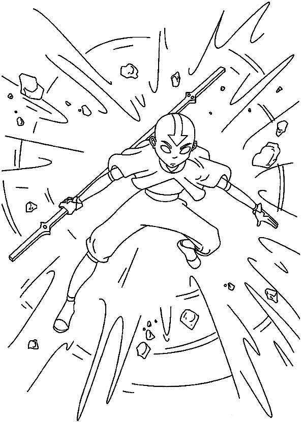 Avatar the Last Air Bender, : Avatar the Last Air Bender Coloring Page for Kids
