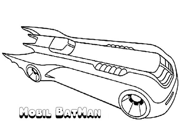 Batman, : Awesome Batman Mobile Coloring Page