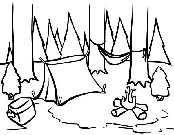Camping, : Awesome Camping Location Coloring Page