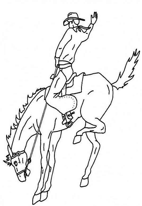 Cowboy, : Awesome Cowboy Tradition Coloring Page